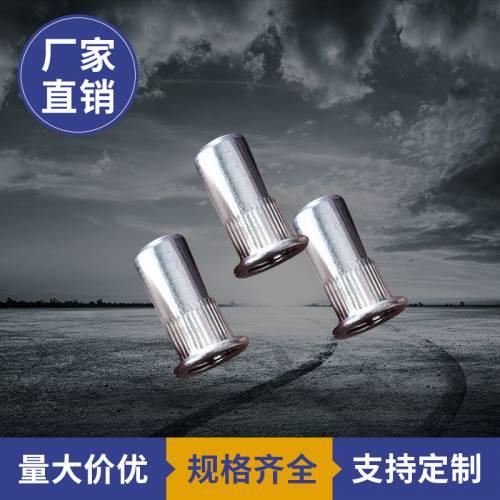 多型号可定制拉母连接件金属敲击式通孔拉铆螺母十字直纹平头铆丁