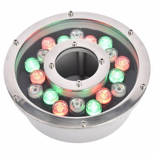 LED喷泉灯12W防水中孔涌泉水池灯景观七彩变色环形水下水底灯