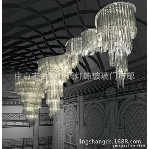 供应酒店会所KTV软装工程玻璃灯饰定制创意吹制艺术玻璃吊件套件