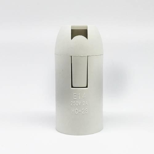 厂家直销E14光身白色整套塑料灯座卡式灯头 中山卡式光身灯头厂家