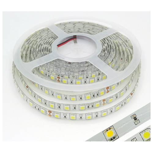DC12V滴胶5050灯带 60珠防水正白暖白七彩RGB18W彩色5米裸板灯带